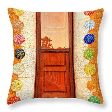 Reflection On Gaudi Throw Pillow by Nigel Fletcher-Jones
