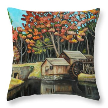 Reflections Of Mabry Mill Throw Pillow by Eve  Wheeler