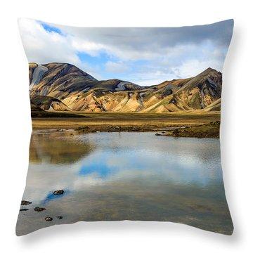 Reflections On Landmannalaugar Throw Pillow by Peta Thames