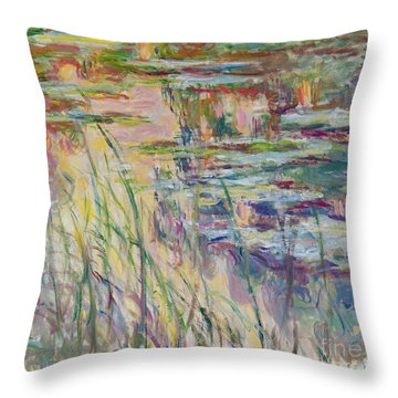 Reflections On The Water Throw Pillow by Claude Monet