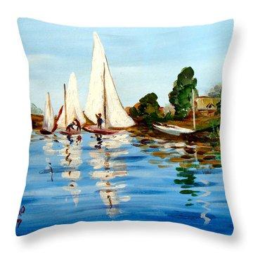 Regatta De Argenteuil Throw Pillow by Karon Melillo DeVega