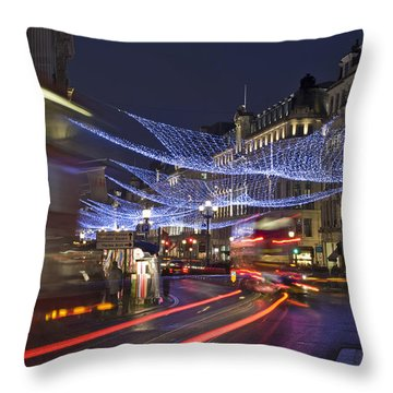 Regent Street Lights Throw Pillow by Matthew Gibson
