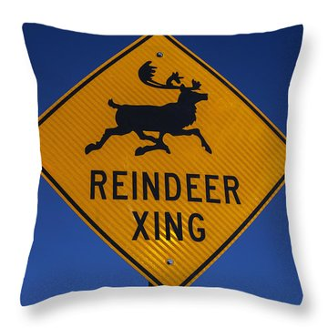 Reindeer Xing Throw Pillow by Garry Gay