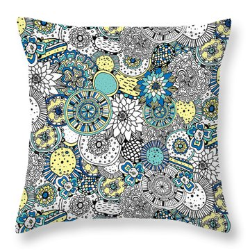 Repeat Print - Floral Burst Throw Pillow by Susan Claire