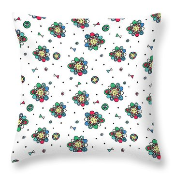 Repeat Print - Floral Folk Throw Pillow by Susan Claire
