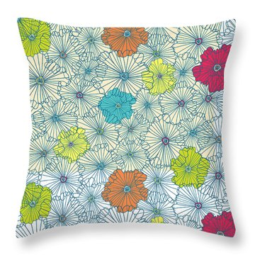 Repeat Print - Floral Throw Pillow by Susan Claire