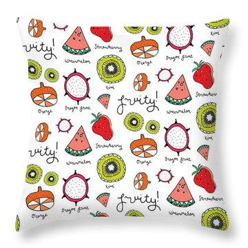 Repeat Print - Fruits Throw Pillow by Susan Claire