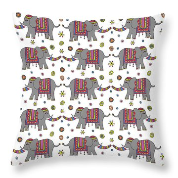 Repeat Print - Indian Elephant Throw Pillow by Susan Claire