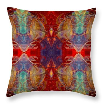 Repeating Realities Abstract Pattern Artwork By Omaste Witkowski Throw Pillow by Omaste Witkowski
