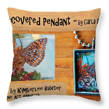 Resin Pendant With Butterfly And Sky Throw Pillow by Carla Parris