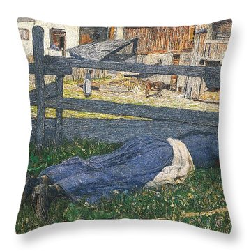 Resting In The Shade Throw Pillow by Giovanni Segantini