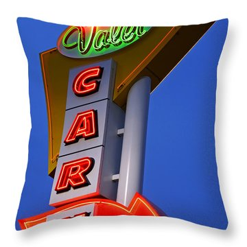 Retro Car Wash Sign Throw Pillow by Norman Pogson