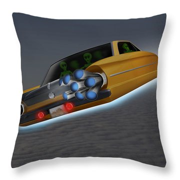 Retro Flying Object 1 Throw Pillow by Mike McGlothlen