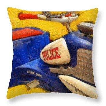 Retro Police Tricycle Throw Pillow by Michelle Calkins