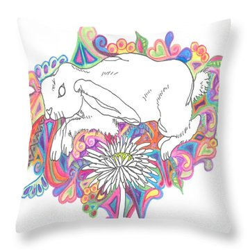 Retro Rabbit Throw Pillow by Cherie Sexsmith