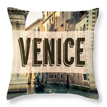 Retro Venice Grand Canal Poster Throw Pillow by Mr Doomits