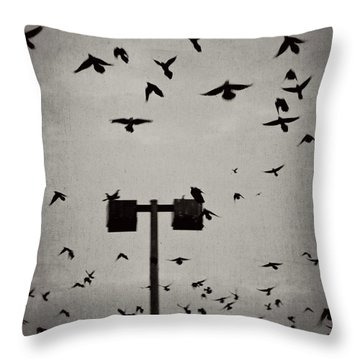 Revenge Of The Birds Throw Pillow by Trish Mistric