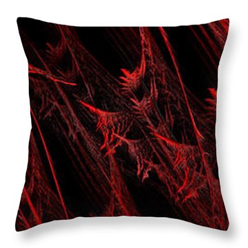 Rhapsody In Red H - Panorama - Abstract - Fractal Art Throw Pillow by Andee Design
