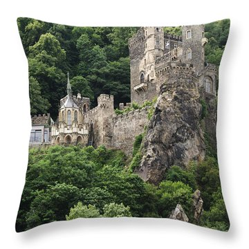 Rheinstein Castle Throw Pillow by Oscar Gutierrez