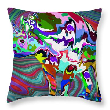 Rhino - Abstract 2 Throw Pillow by Jack Zulli