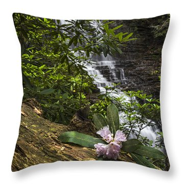 Rhododendron At The Falls Throw Pillow by Debra and Dave Vanderlaan