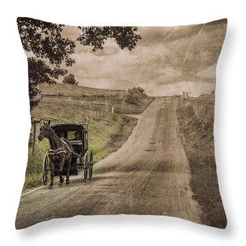Riding Down A Country Road Throw Pillow by Tom Mc Nemar
