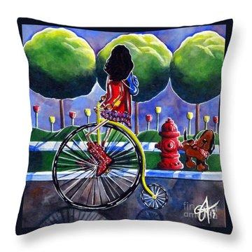 Riding Grandmas Bike Throw Pillow by Jackie Carpenter
