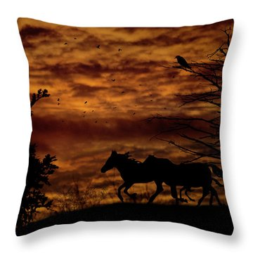Riding Into The Night Throw Pillow by Diane Schuster