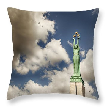 Riga Freedom Monument Throw Pillow by Sophie McAulay