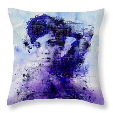 Rihanna 2 Throw Pillow by Bekim Art