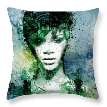 Rihanna 4 Throw Pillow by Bekim Art