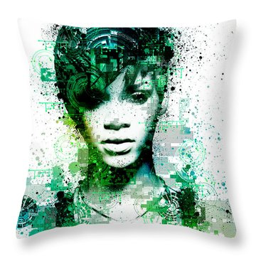 Rihanna 5 Throw Pillow by Bekim Art