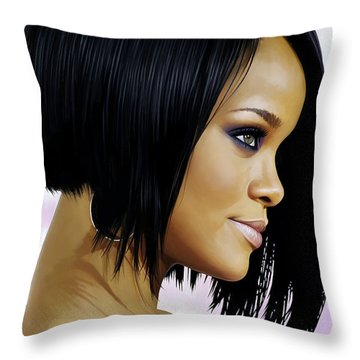 Rihanna Artwork Throw Pillow by Sheraz A