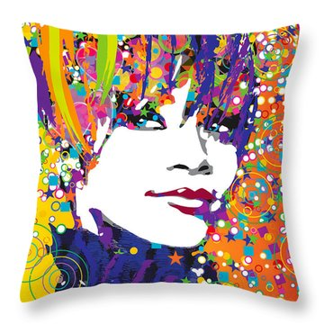 Rihanna In Blue Throw Pillow by Irina Effa