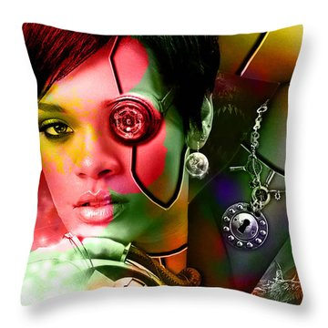Rihanna Throw Pillow by Marvin Blaine