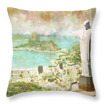 Rio De Janeiro Throw Pillow by Catf
