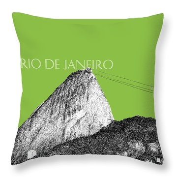 Rio De Janeiro Skyline Sugarloaf Mountain - Olive Throw Pillow by DB Artist