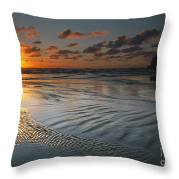 Ripples On The Beach Throw Pillow by Mike  Dawson
