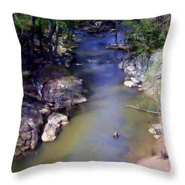 River At Noccalula Falls Throw Pillow by Debra Forand