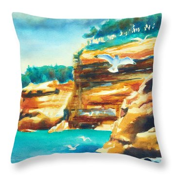 River Cliffs 2 Throw Pillow by Kathy Braud