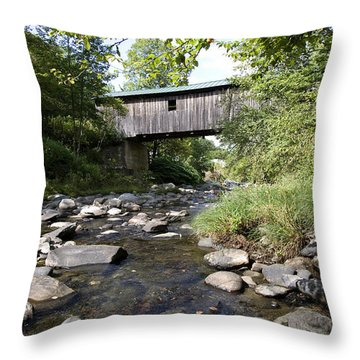 River Gorge Covered Bridge Throw Pillow by Jim  Wallace