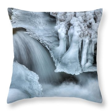 River Ice Throw Pillow by Chad Dutson