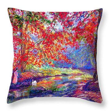River Of Life, Colors Of Fall Throw Pillow by Jane Small
