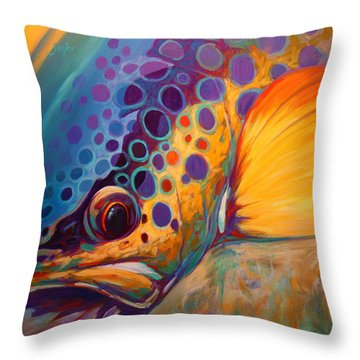 River Orchid - Brown Trout Throw Pillow by Savlen Art