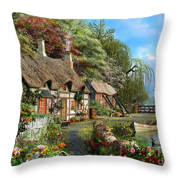 Riverside Home In Bloom Throw Pillow by Dominic Davison