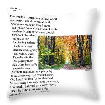 Robert Frost - The Road Not Taken Throw Pillow by Ed Churchill