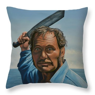 Robert Shaw In Jaws Throw Pillow by Paul Meijering