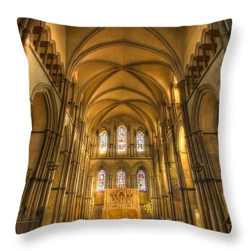 Rochester Castle Kent England Hdr  Throw Pillow by David French