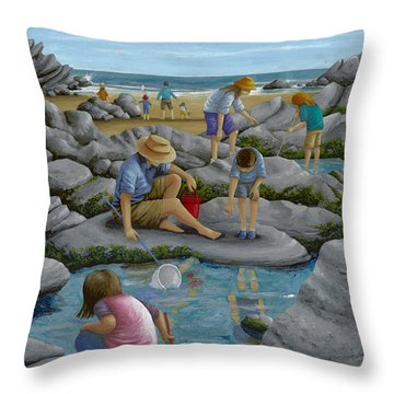 Rockpooling Throw Pillow by Peter Adderley