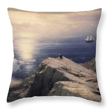 Rocky Coastal Throw Pillow by Ivan Konstantinovich Aivazovsky